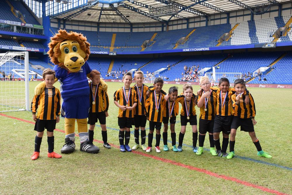 Chelsea mascot with junior team